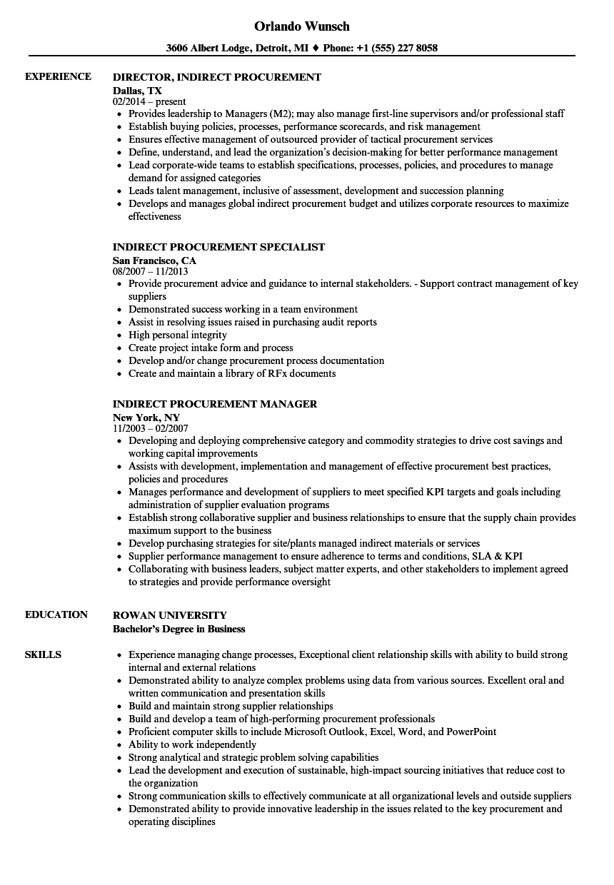 indirect procurement resume samples