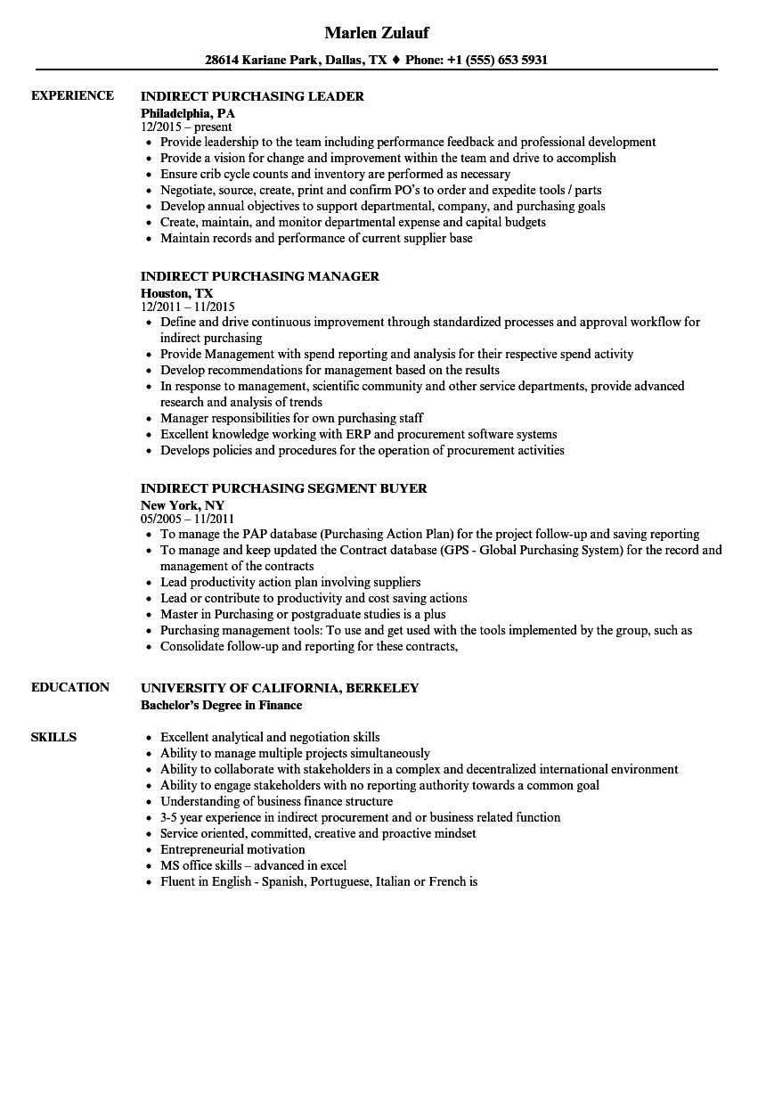 Indirect Purchasing Resume Samples | Velvet Jobs