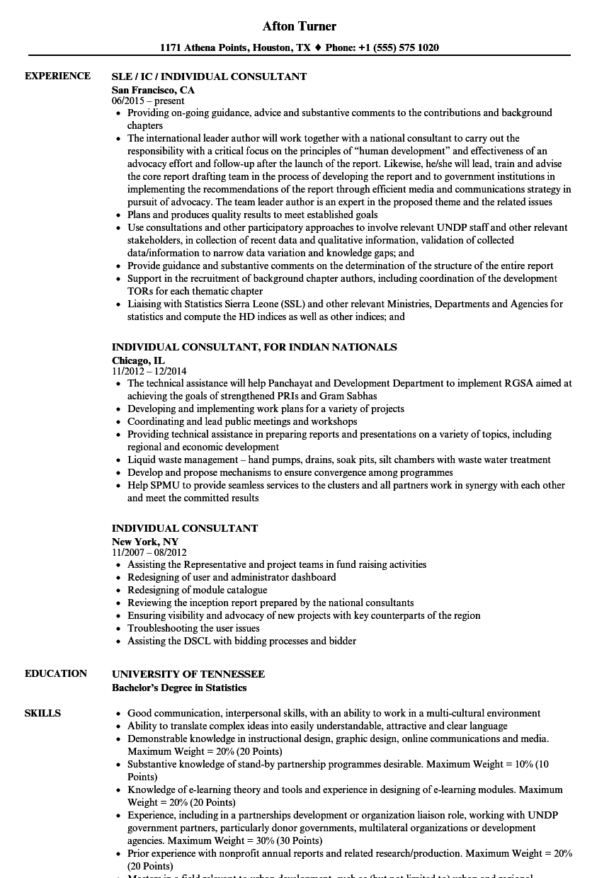 Individual Consultant Resume Samples | Velvet Jobs
