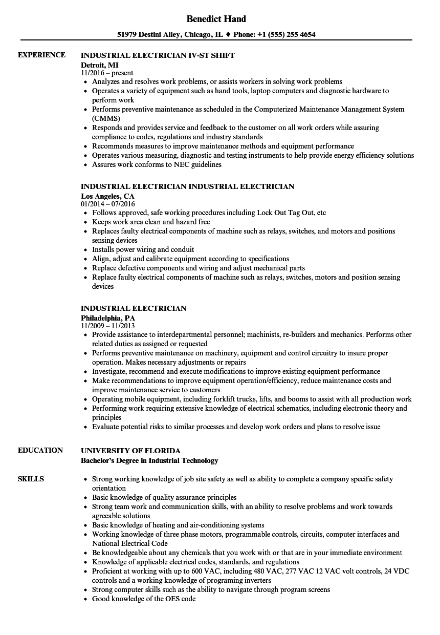 Download Industrial Electrician Resume Sample As Image File