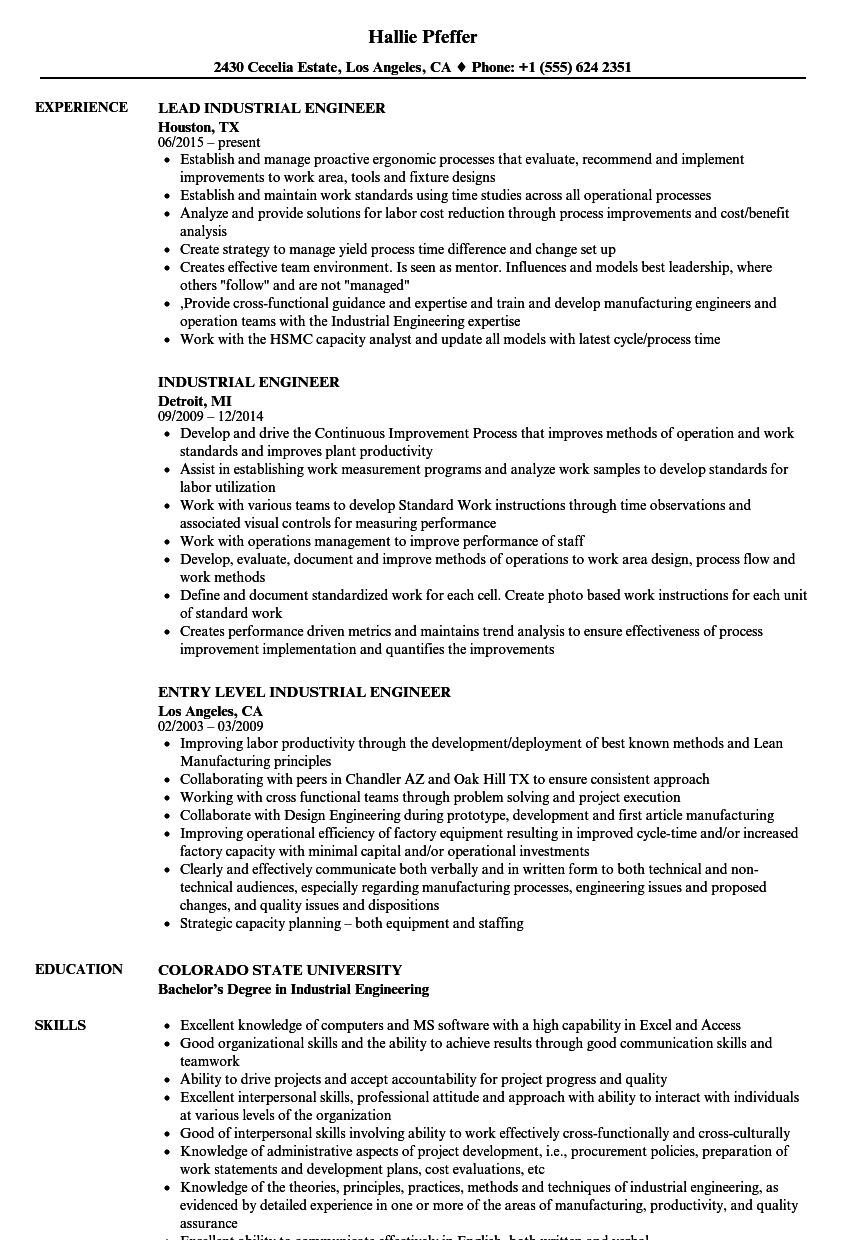 Industrial Engineer Resume Samples | Velvet Jobs