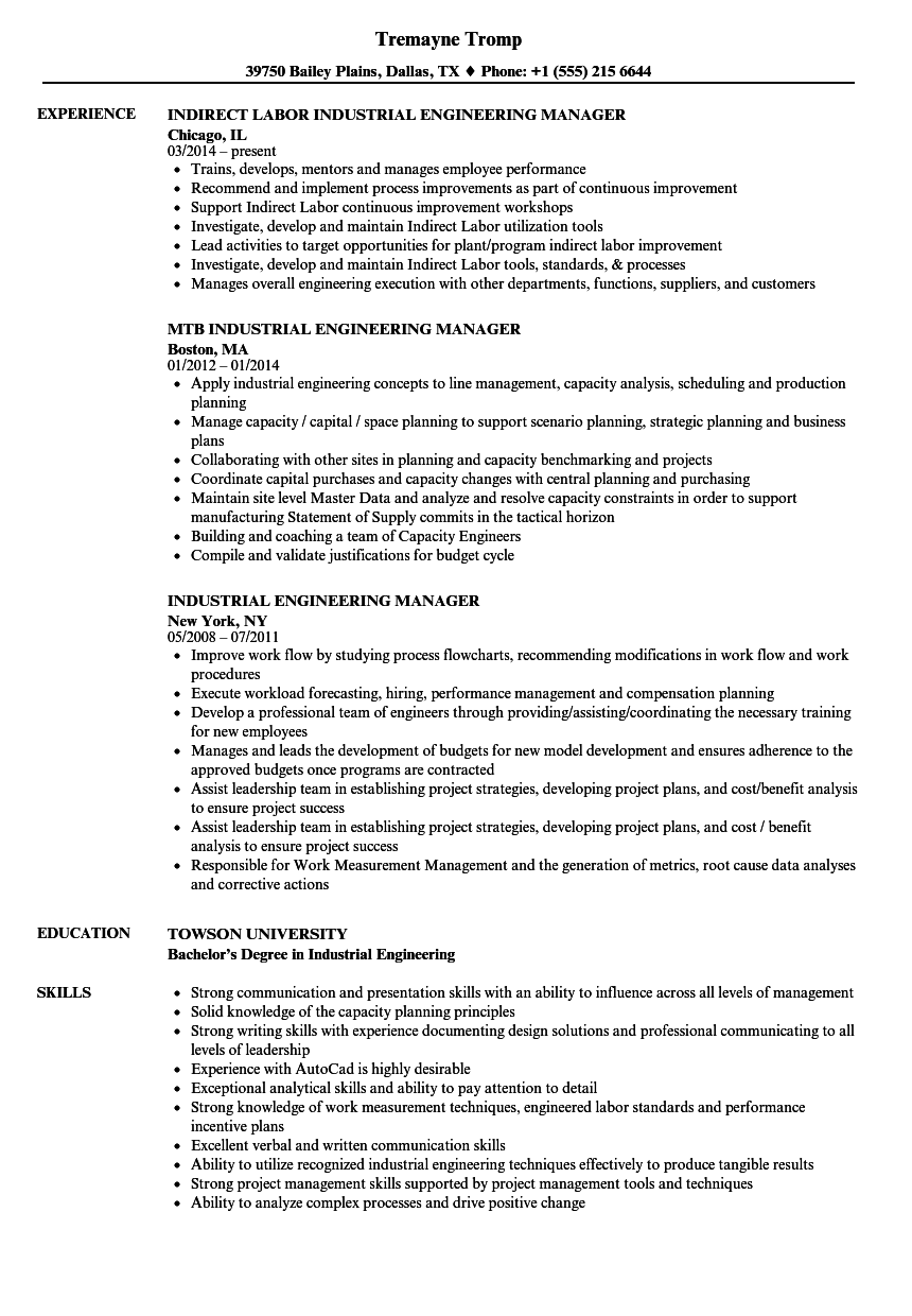 Industrial Engineering Manager Resume Samples | Velvet Jobs