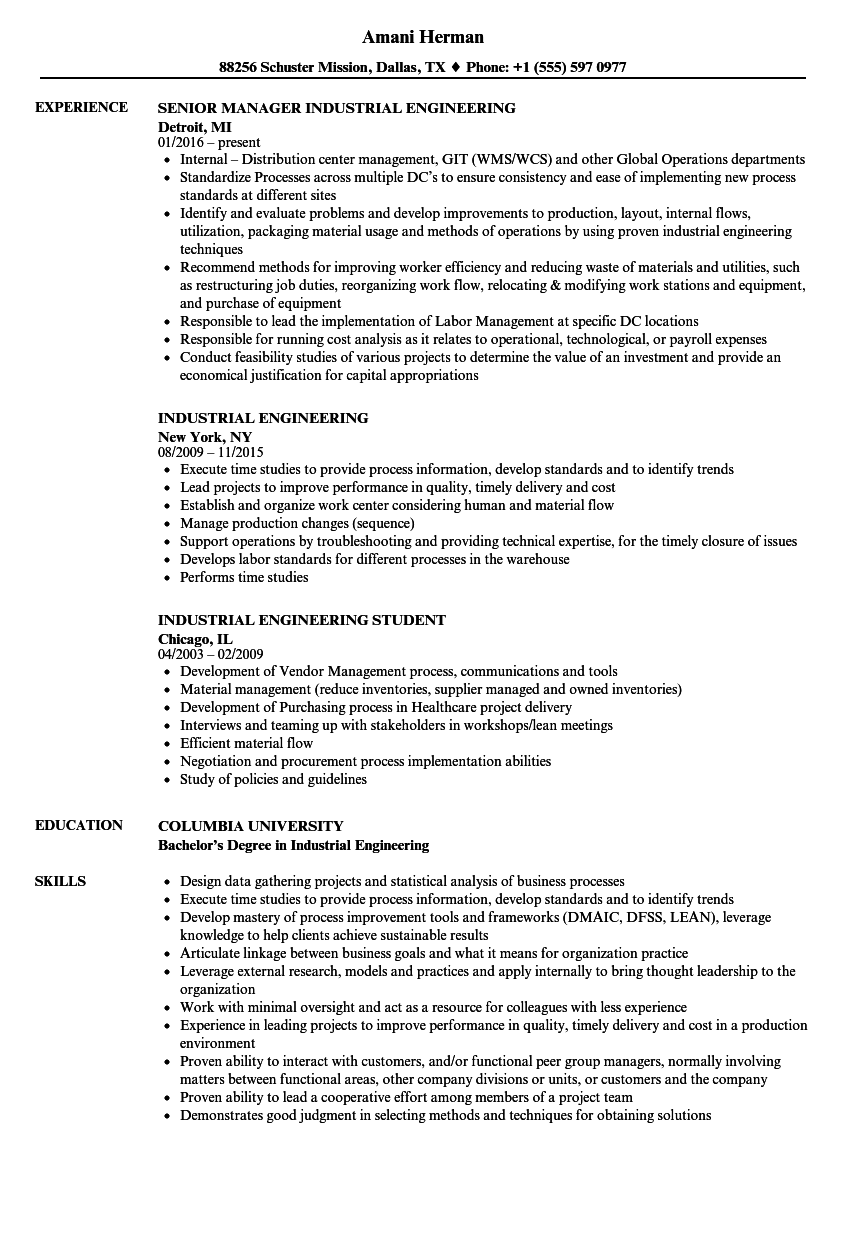download industrial engineering resume sample as image file - Industrial Engineering Resume Samples