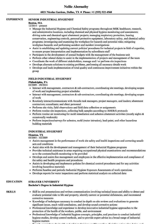 industrial hygienist resume samples
