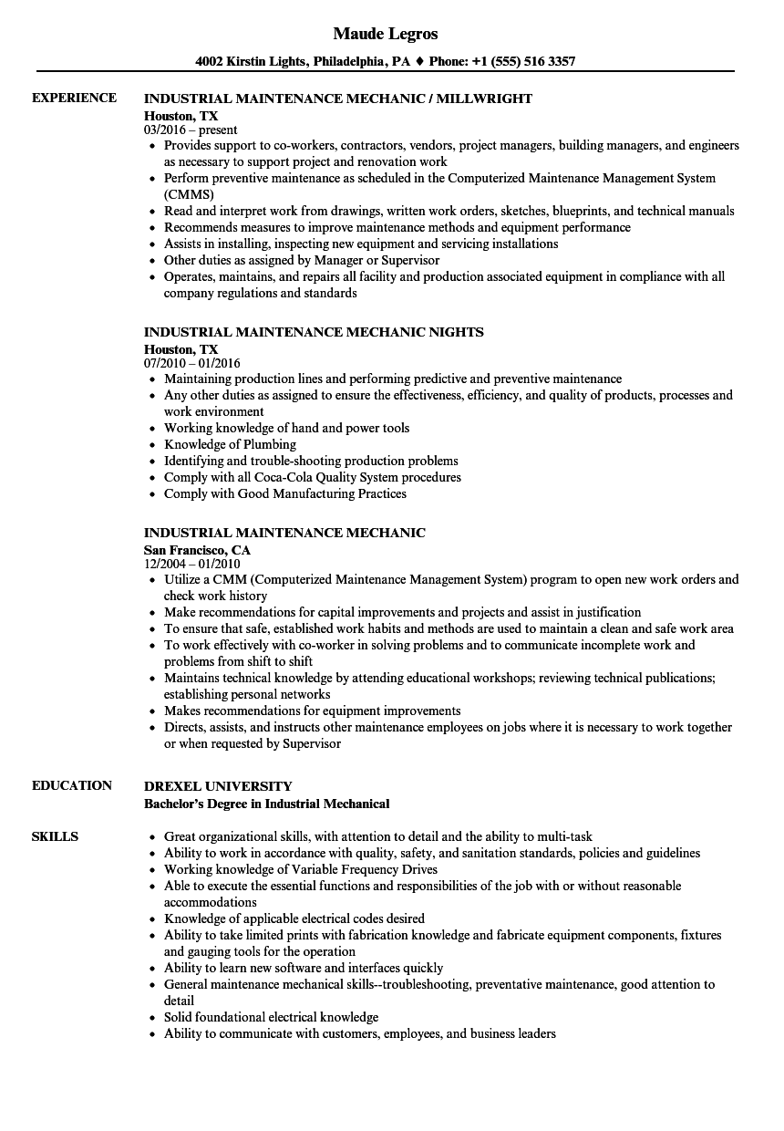 Industrial Maintenance Mechanic Resume Samples | Velvet Jobs