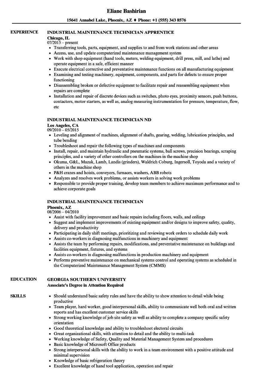 Industrial Maintenance Technician Resume Samples | Velvet Jobs
