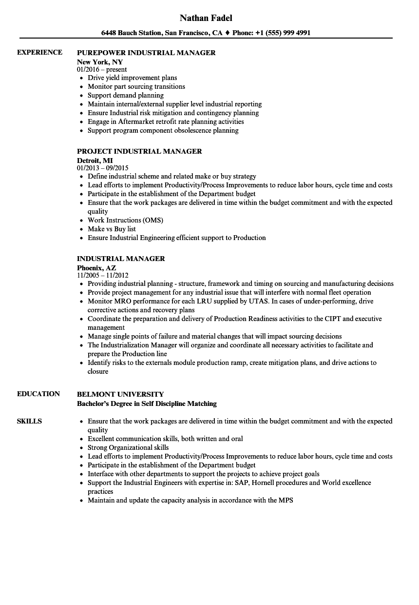 industrial manager resume samples