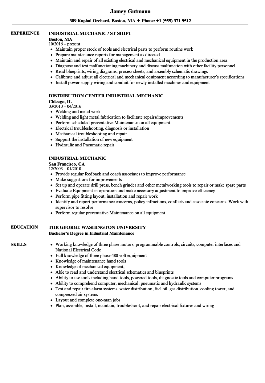 Download Industrial Mechanic Resume Sample As Image File