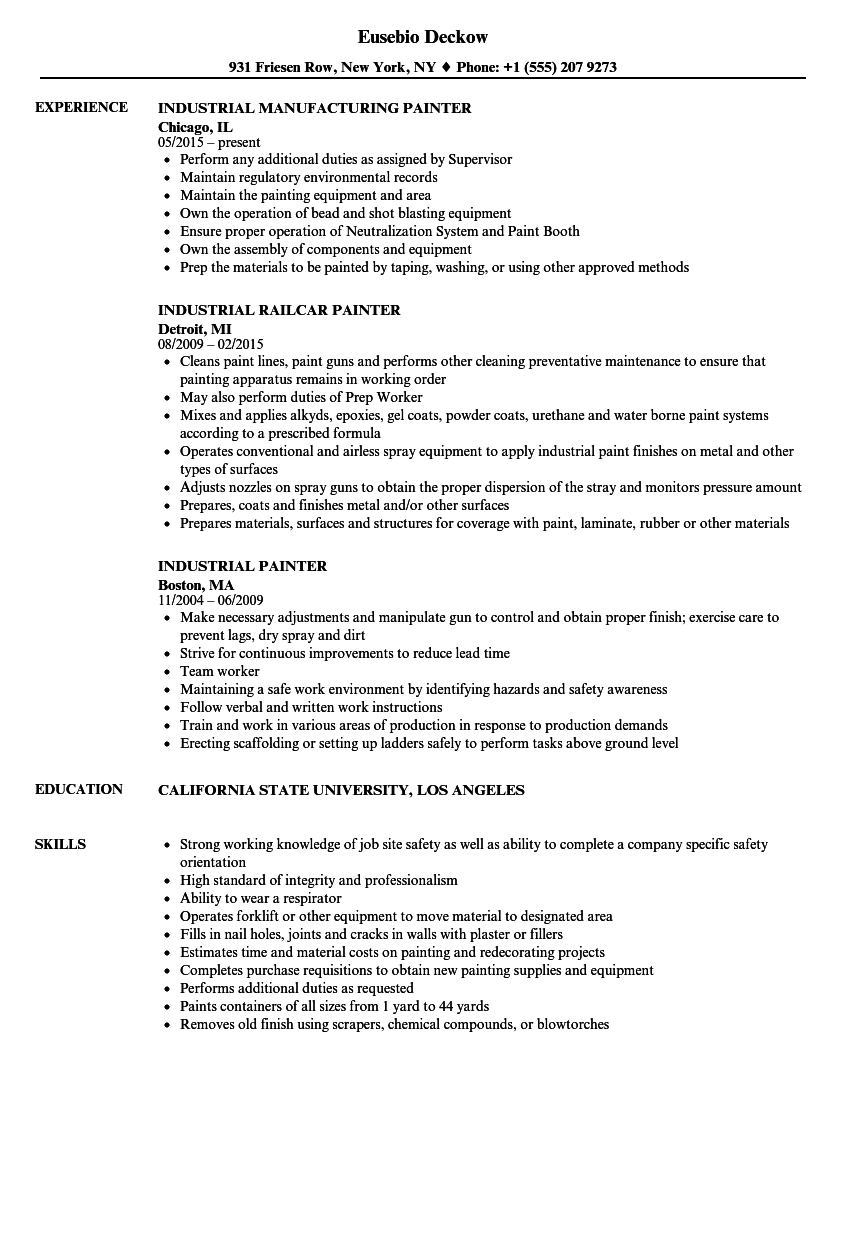Industrial Painter Resume Samples | Velvet Jobs