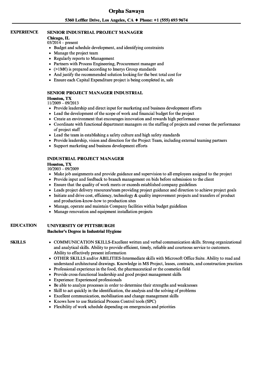 download industrial project manager resume sample as image file