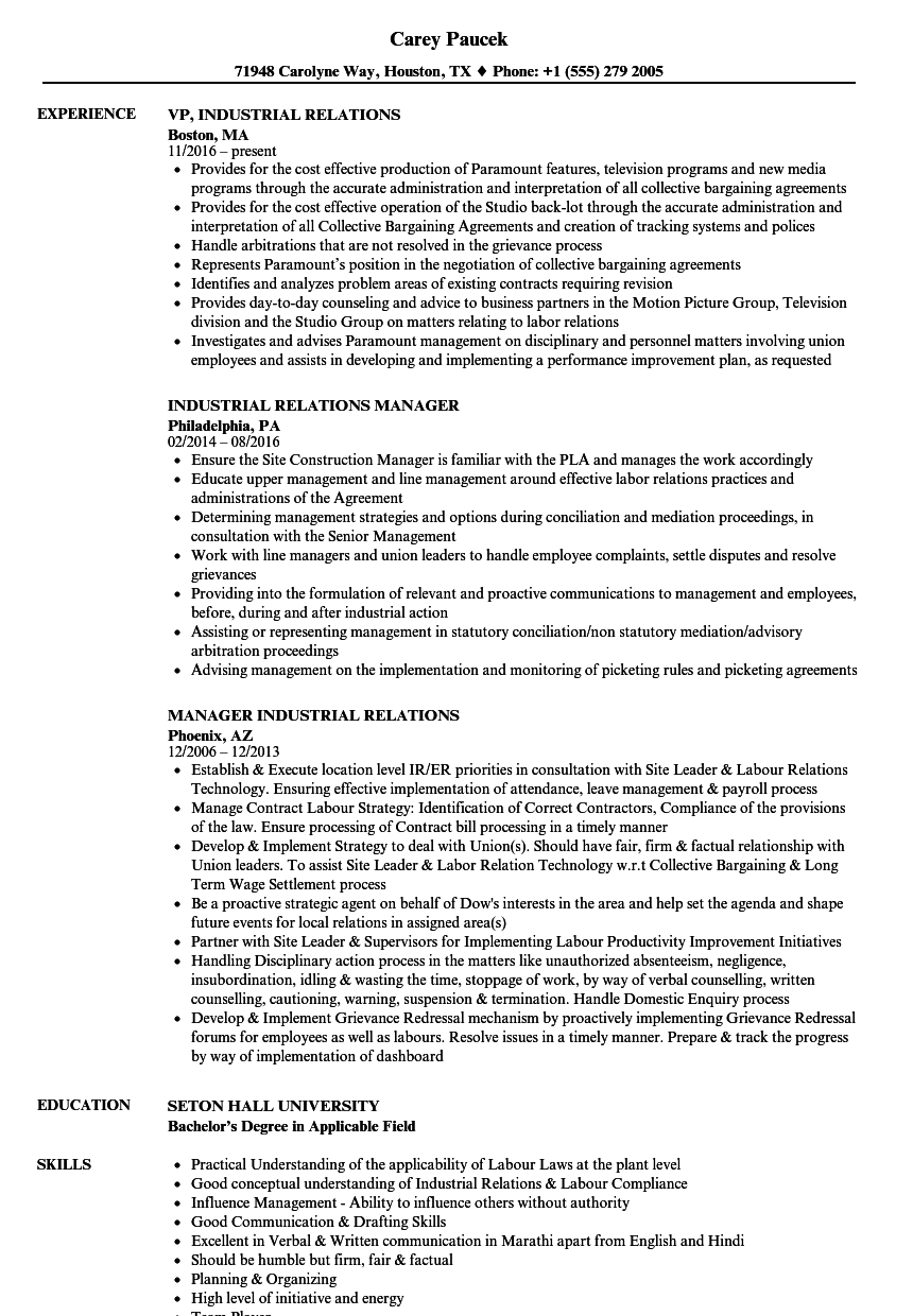 Industrial Relations Resume Samples | Velvet Jobs