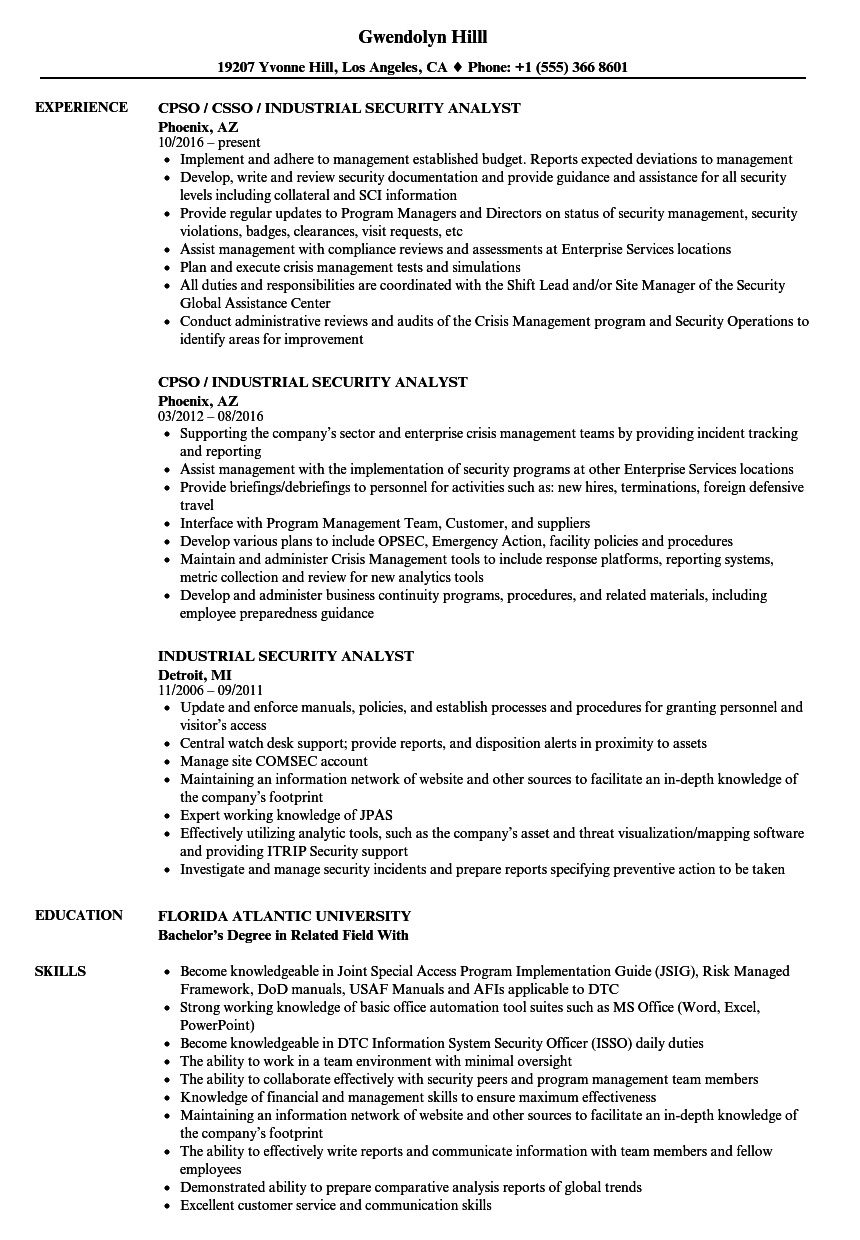 industrial security analyst resume samples