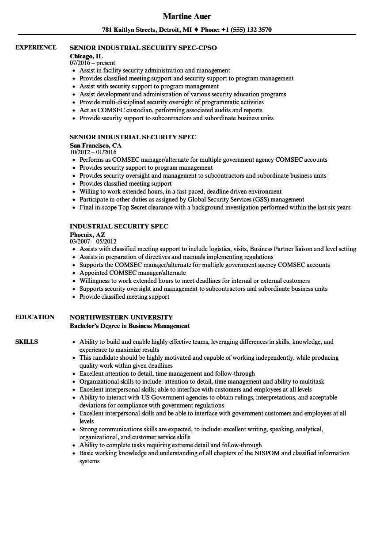 Industrial Security Spec Resume Samples | Velvet Jobs