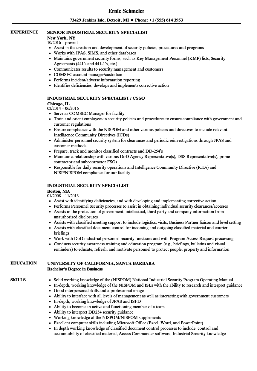 Industrial Security Specialist Resume Samples | Velvet Jobs