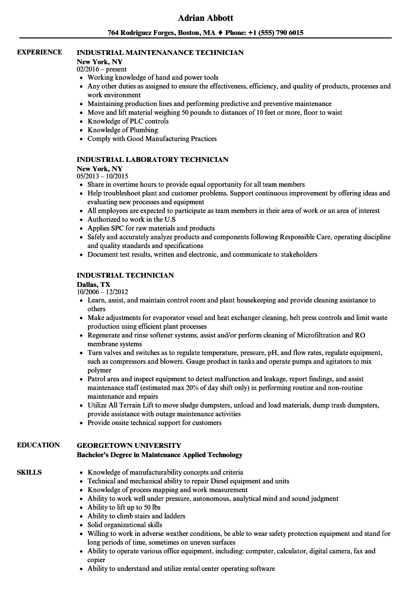 Industrial Technician Resume Samples | Velvet Jobs