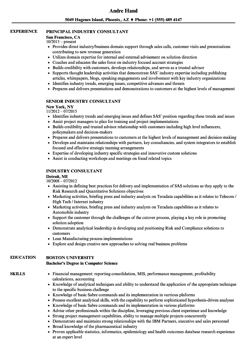 download industry consultant resume sample as image file - Science Industry Resume Examples