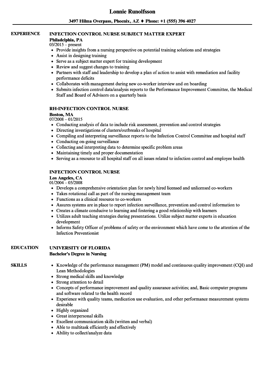 Infection Control Nurse Resume Samples | Velvet Jobs