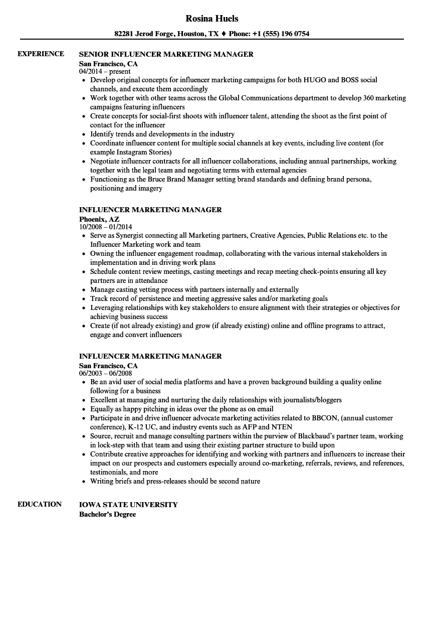 influencer marketing manager resume samples