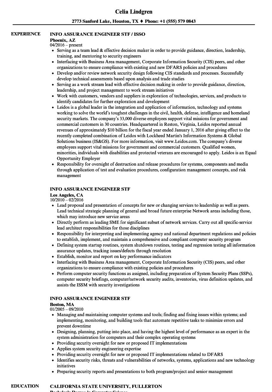 info assurance engineer stf resume samples