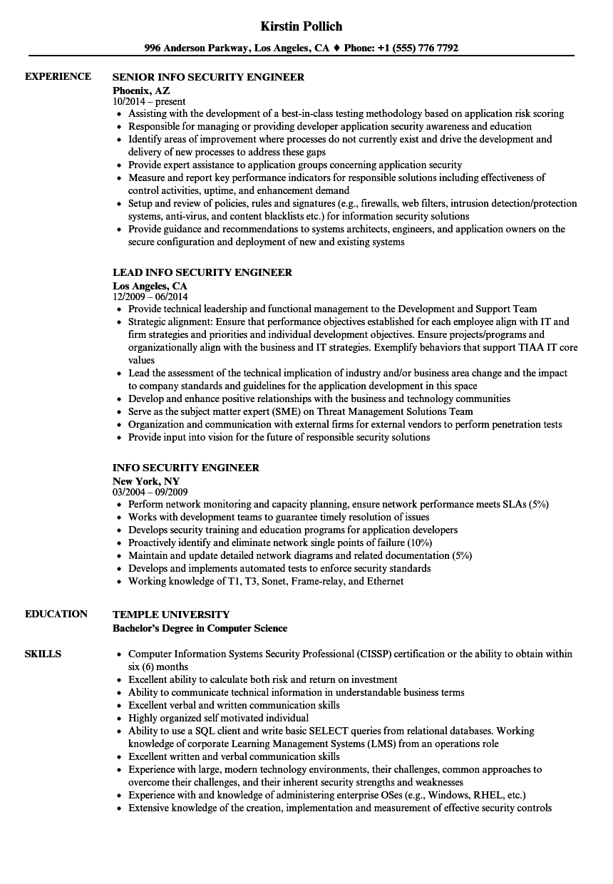Info Security Engineer Resume Samples Velvet Jobs