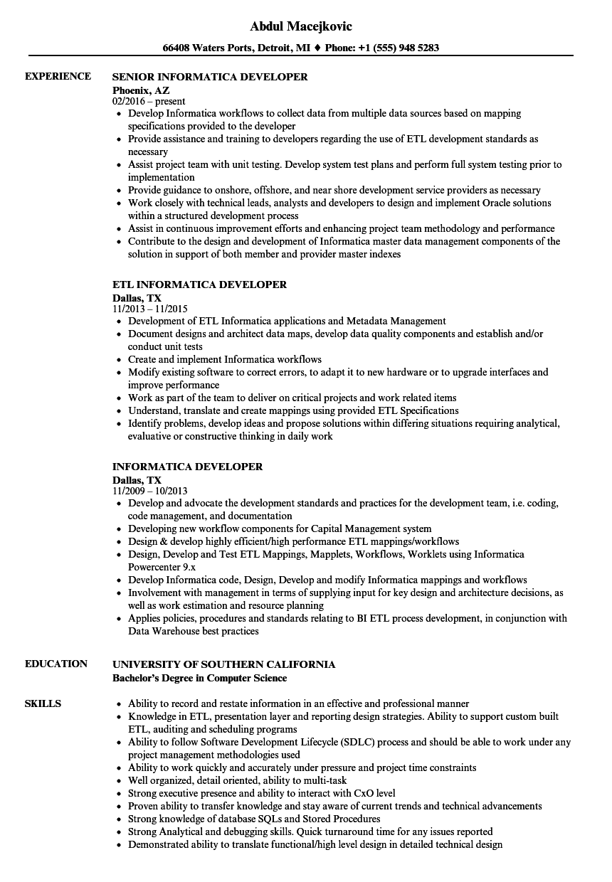 Informatica Developer Resume Samples