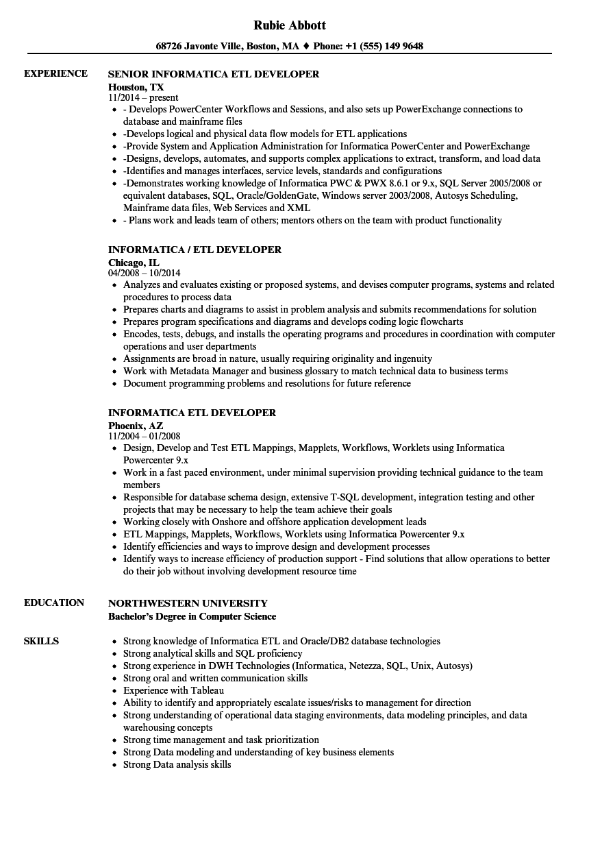Informatica ETL Developer Resume Samples