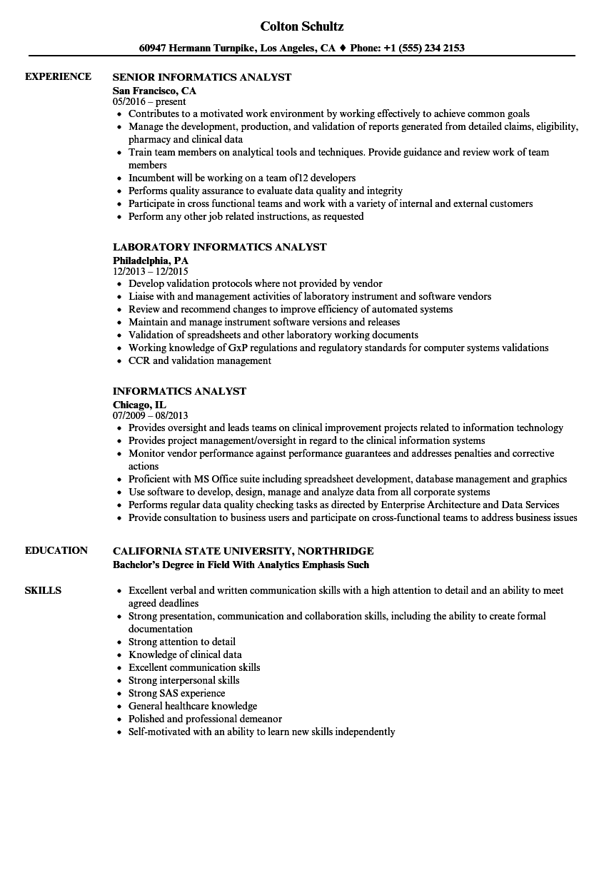 Download Informatics Analyst Resume Sample As Image File