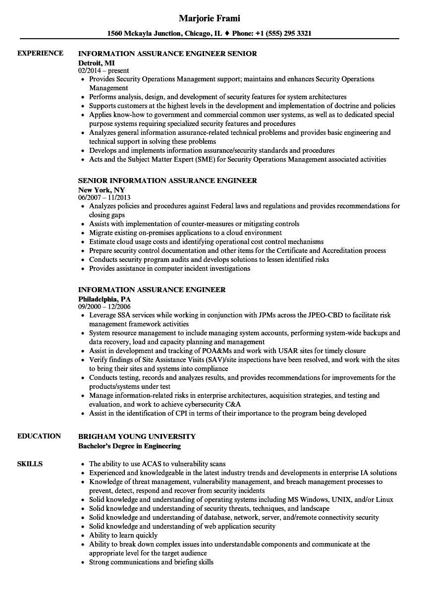 Information Assurance Engineer Resume Samples | Velvet Jobs