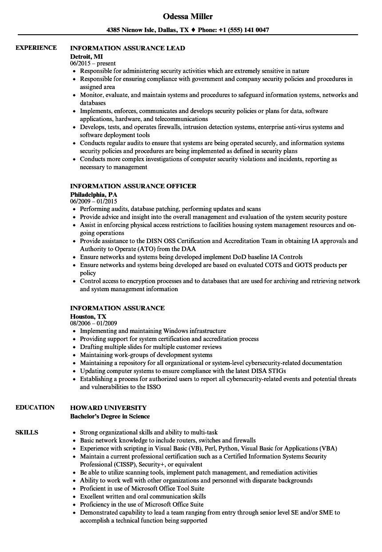 information assurance resume samples