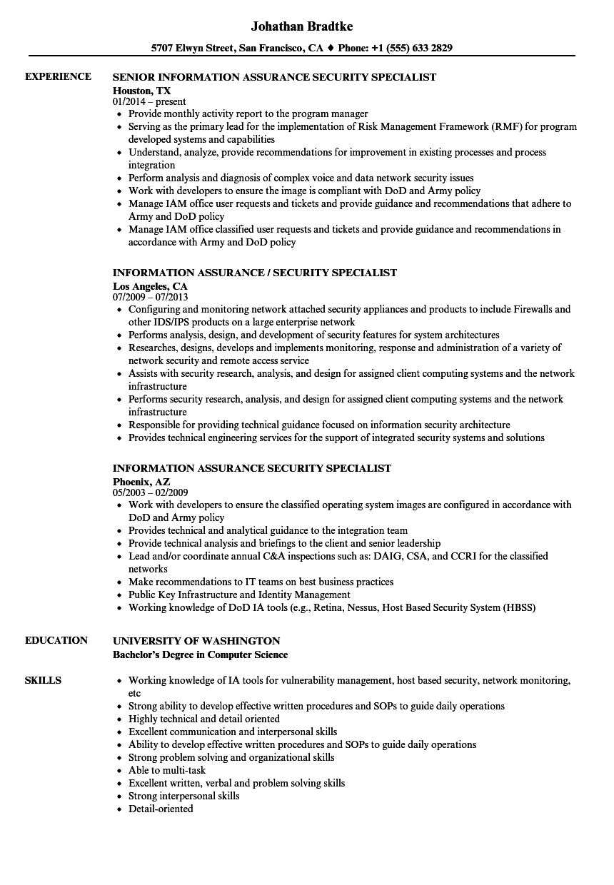 Information Assurance Security Specialist Resume Samples Velvet Jobs