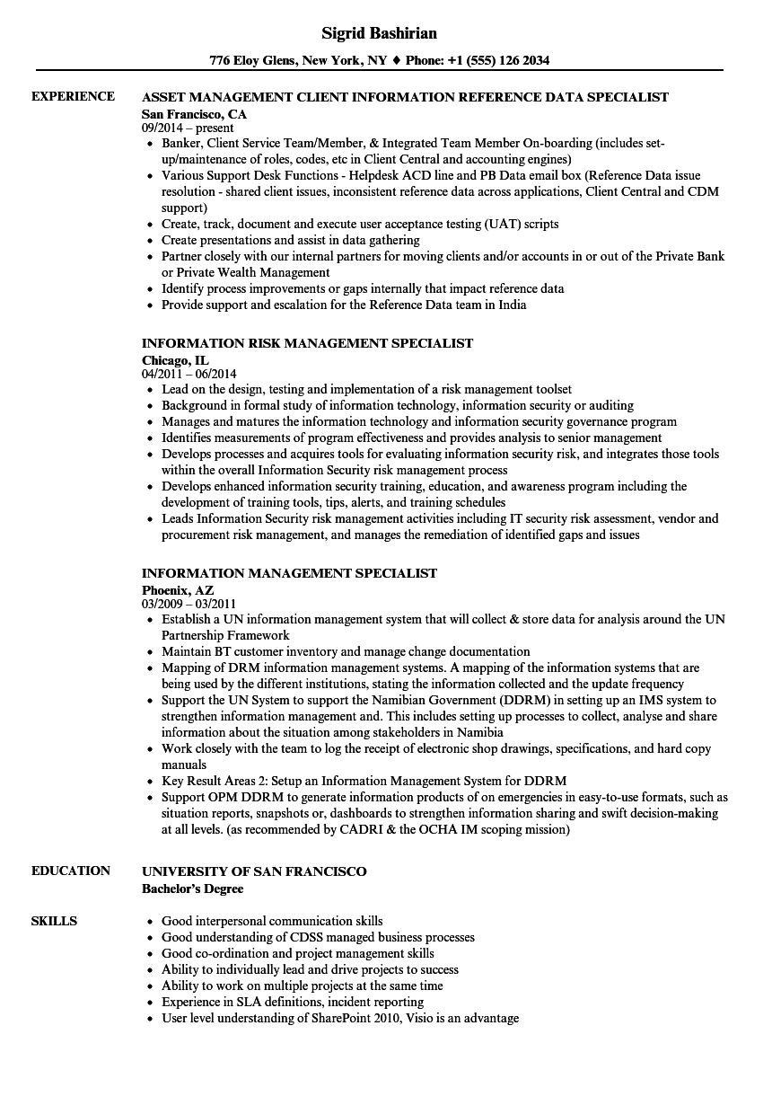 information management specialist resume samples