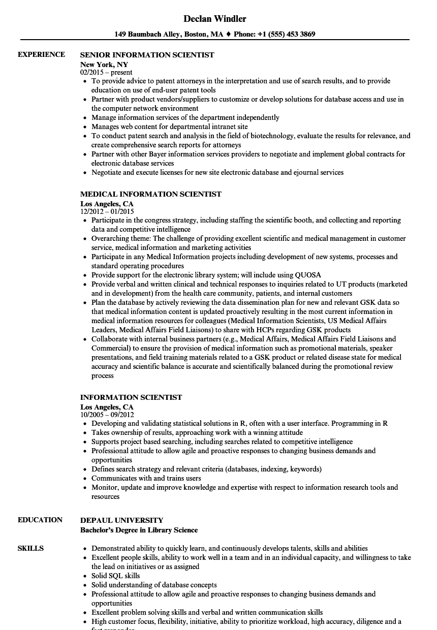information scientist resume samples