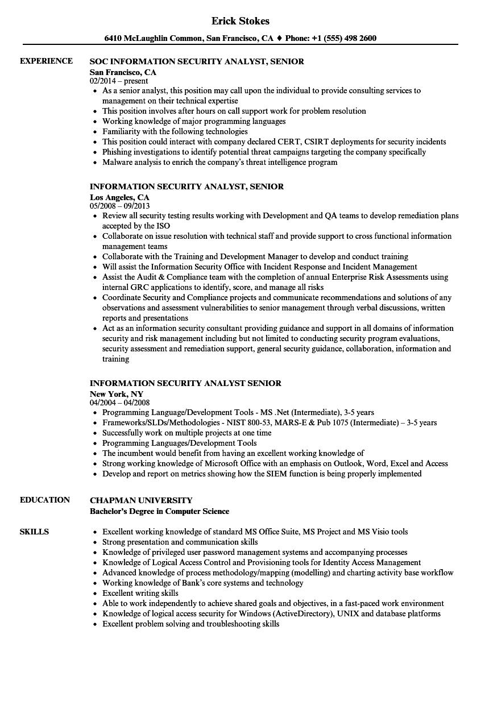 information security analyst senior resume samples