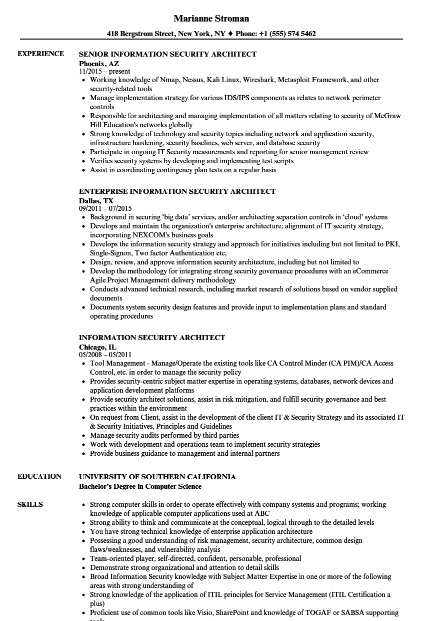 Architect Resume | Information Security Architect Resume Samples Velvet Jobs