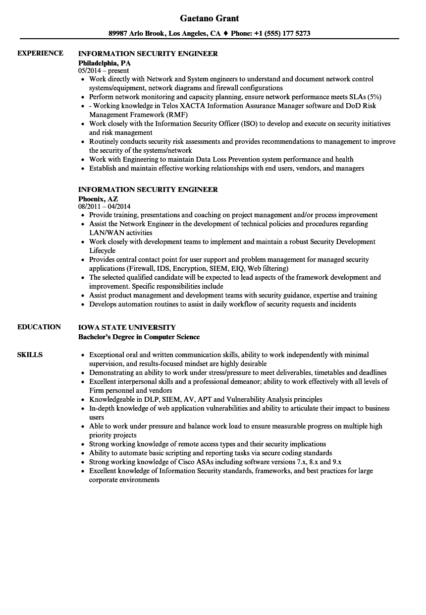 information security engineer resume samples velvet jobs