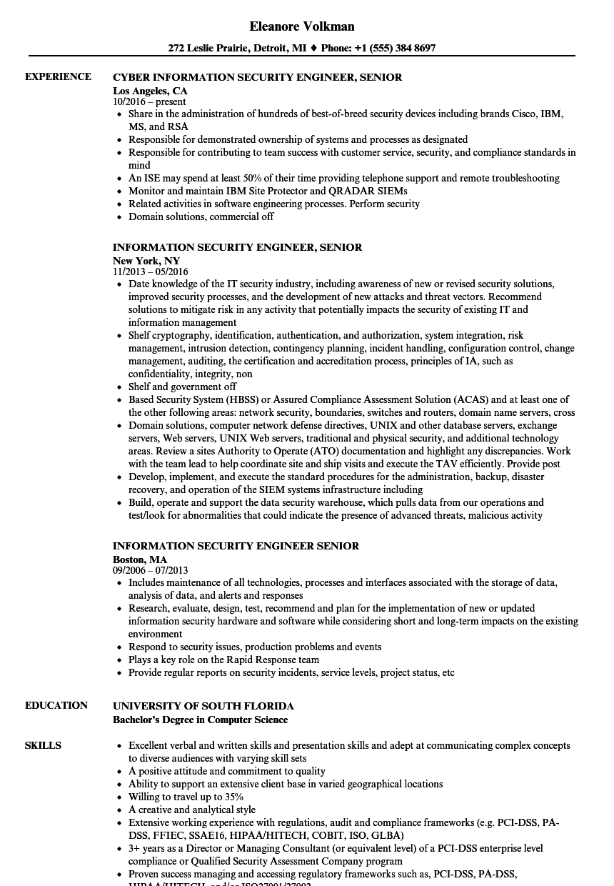 information security engineer  senior resume samples