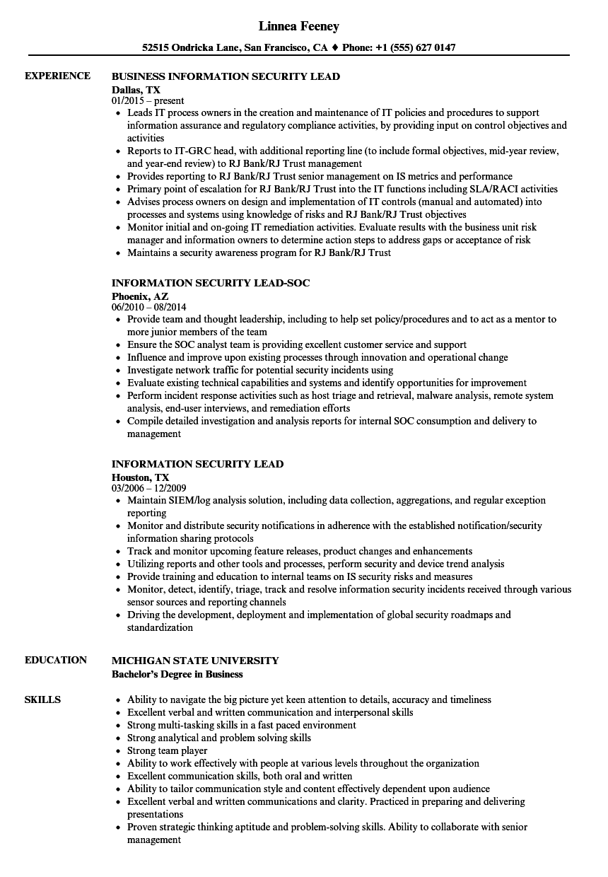 information security lead resume samples velvet jobs