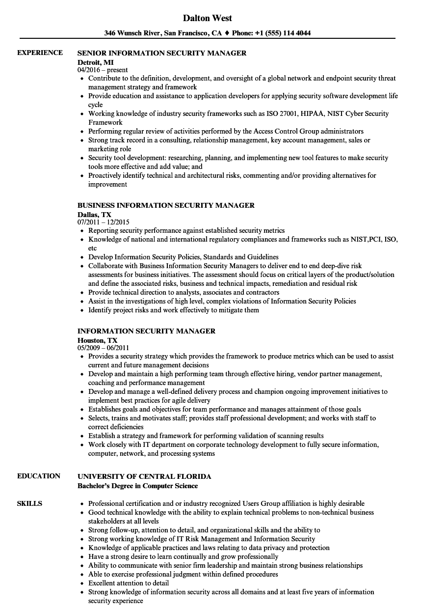 Information Security Manager Resume Samples | Velvet Jobs