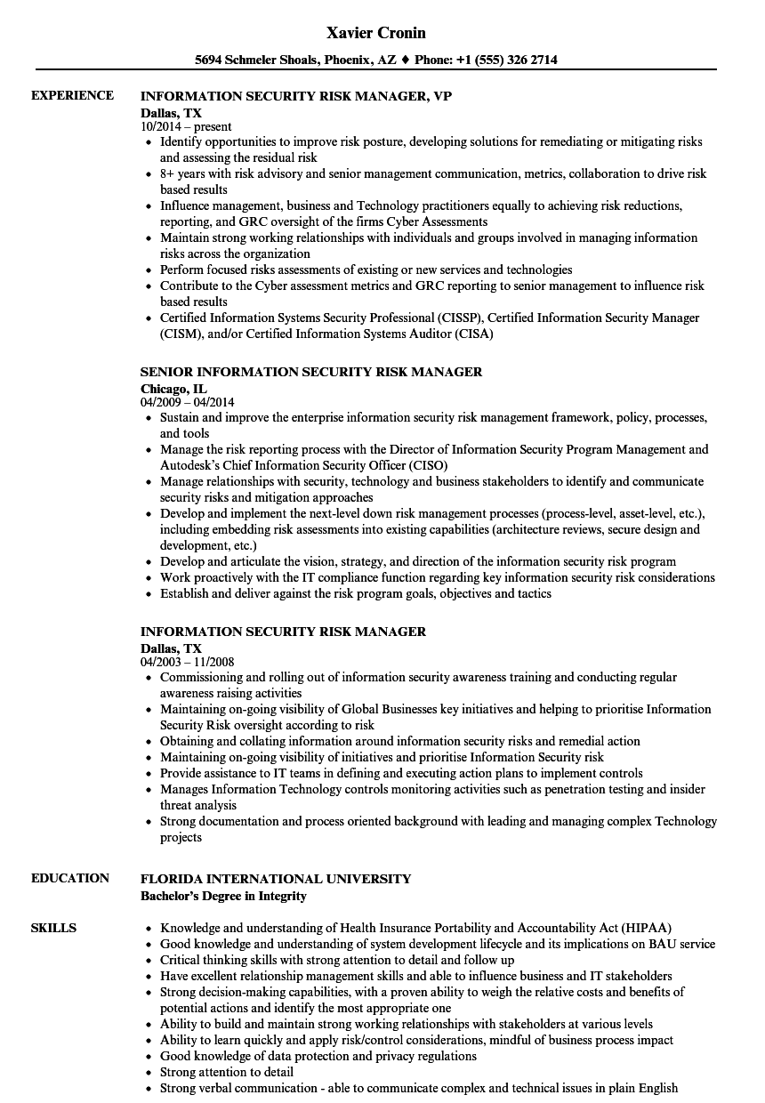 information security risk manager resume samples