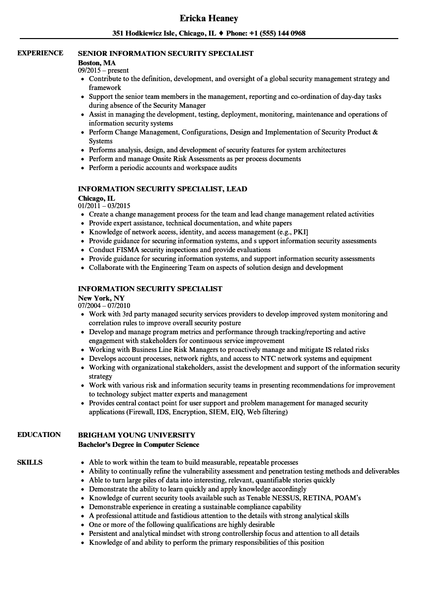 download information security specialist resume sample as image file