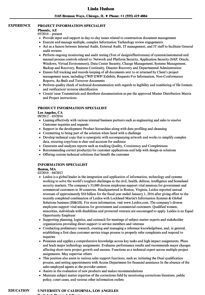 information specialist resume samples