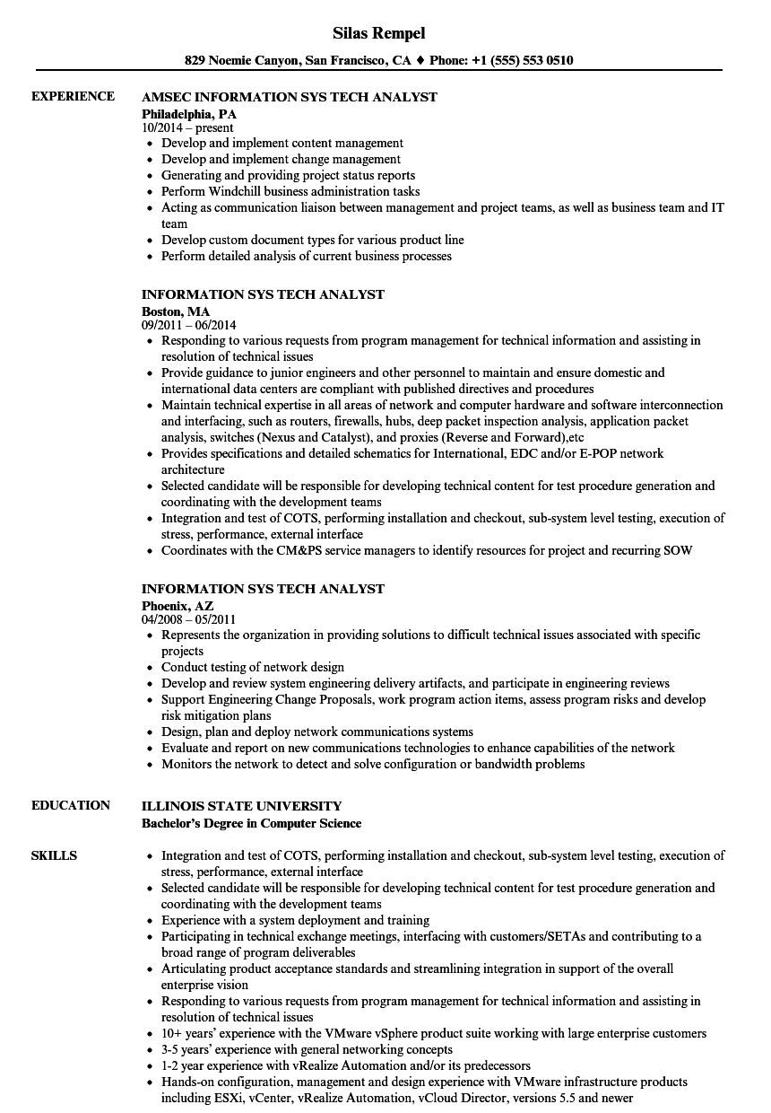 information sys tech analyst resume samples