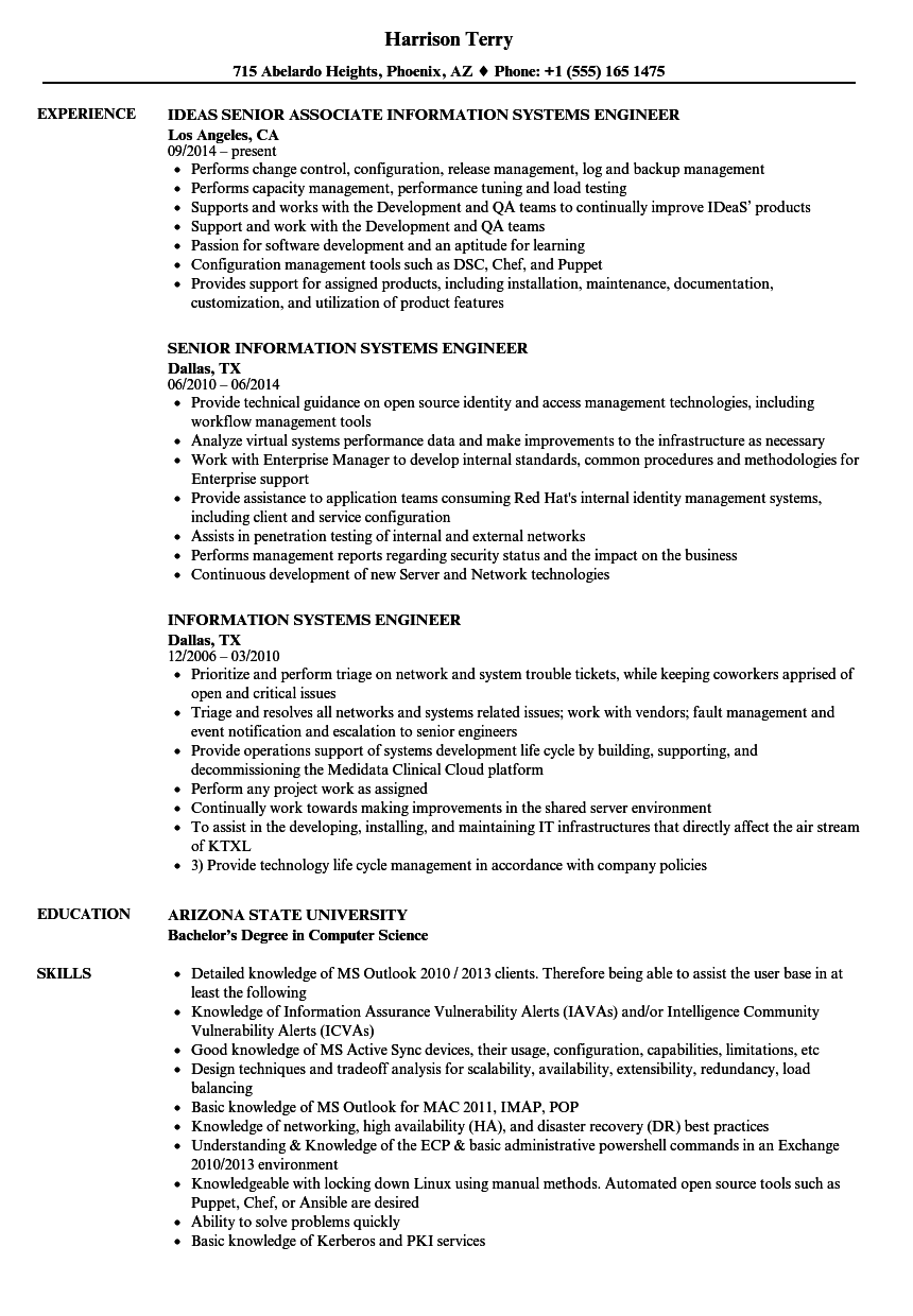 information systems engineer resume samples
