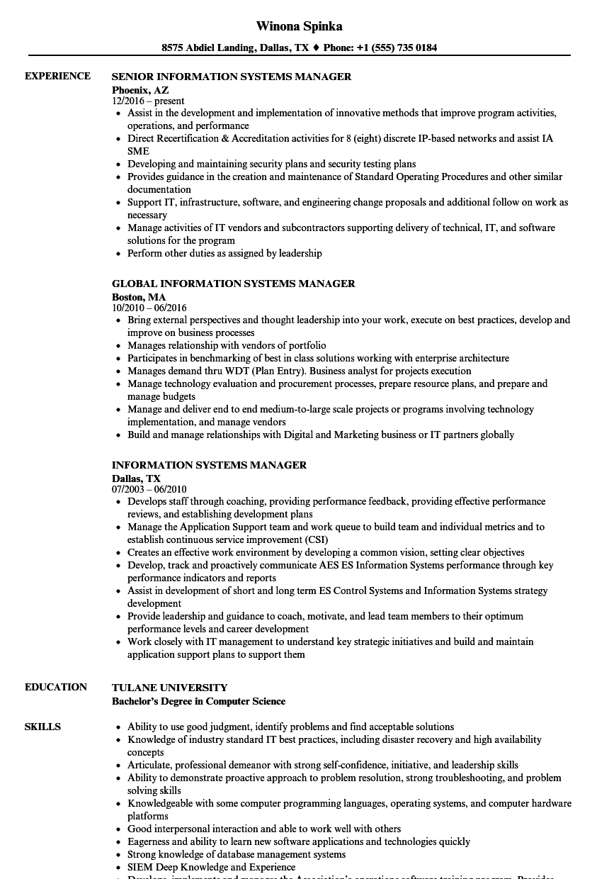 information systems manager resume samples