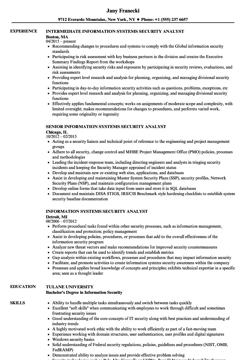 information systems security analyst resume samples velvet jobs