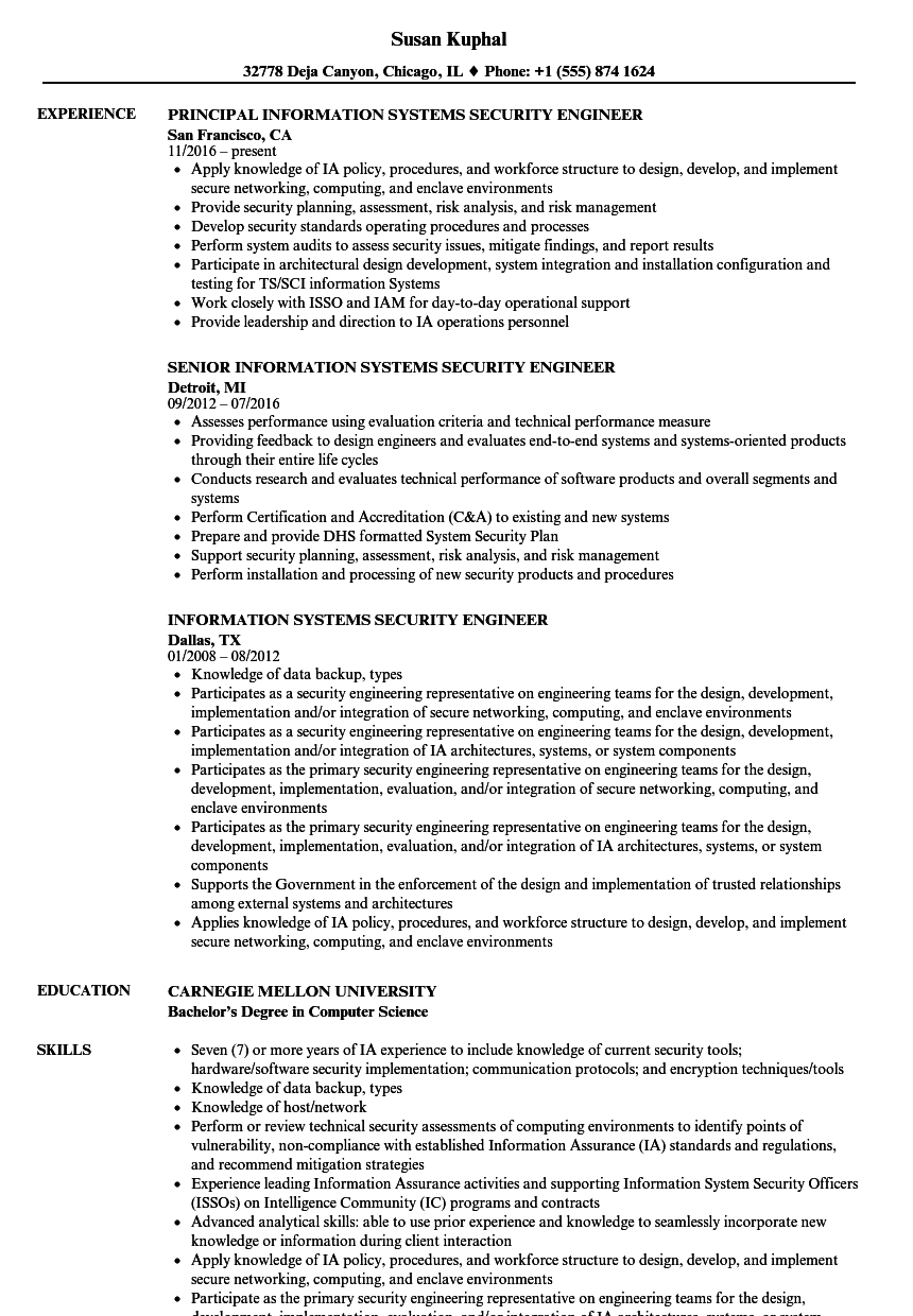 information systems security engineer resume samples