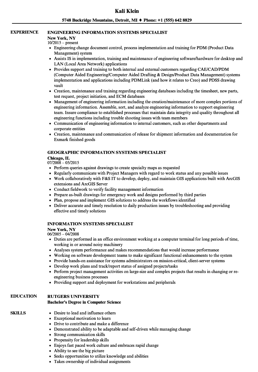 information systems specialist resume samples