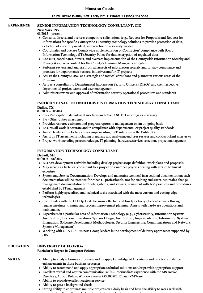 download information technology consultant resume sample as image file
