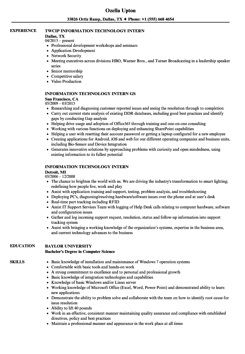 Information Technology Intern Resume Samples | Velvet Jobs
