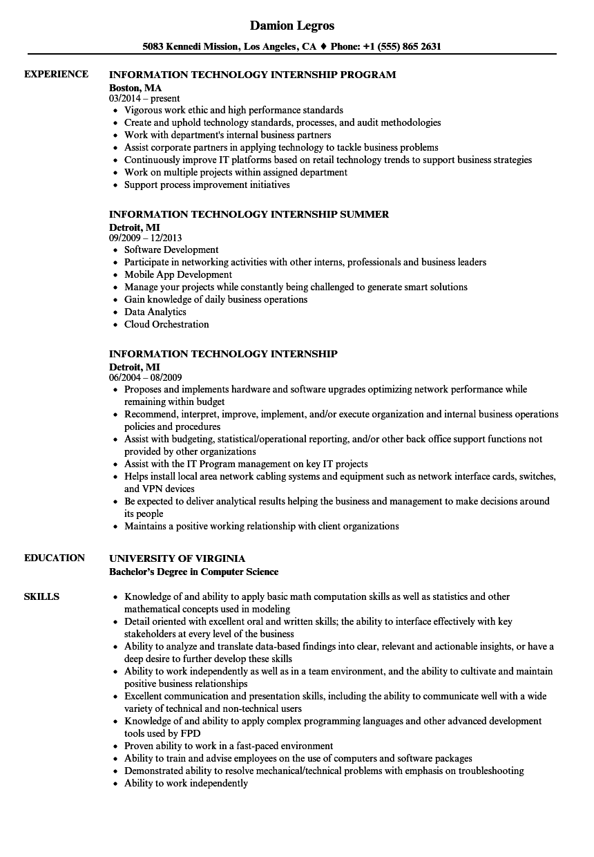 Information Technology Internship Resume Samples | Velvet Jobs